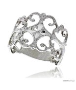 Size 9 - Sterling Silver Freeform Ring Polished finish 5/8 in wide -Style  - £19.07 GBP