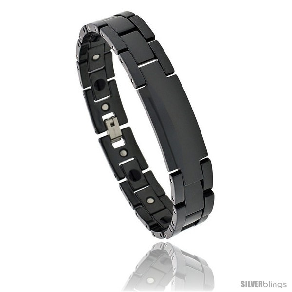 Primary image for Length 8.5 - Ceramic Black ID Bracelet Magnetic Therapy, 7/16 in