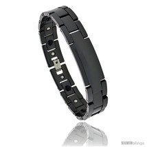 Length 8.5 - Ceramic Black ID Bracelet Magnetic Therapy, 7/16 in  - $56.05