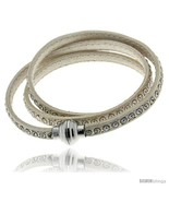 Surgical Steel Italian Leather Wrap Massai Bracelet Swarovski Crystal in... - $70.21