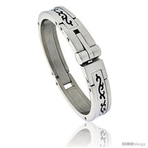 Gent's Stainless Steel Bangle Bracelet, w/ Enamel Tribal Pattern 5/8 in  - $49.74