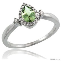 An item in the Jewelry & Watches category: Size 5 - Sterling Silver Diamond Natural Green Amethyst Ring Ring 0.33 ct Tear