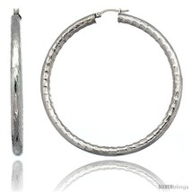 Surgical Steel 2 3/4 in Hoop Earrings Bamboo Embossed Pattern 5 mm Fat t... - $381,25 MXN
