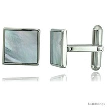 Stainless Steel Square Shape Cufflinks w/ Natural Mother of Pearl Inlay, 1/2 x  - $41.37