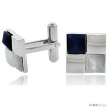Stainless Steel Checkerboard Cufflinks, w/ Blue & White Pyramid Stones, 1/2 in  - $38.85