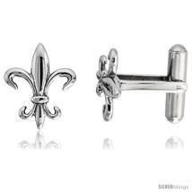 Stainless Steel Fleur-De-Lis Cufflinks, 3/4 x 5/8 in -Style  - $44.18