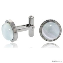 Stainless Steel Cufflinks with Cabochon Moonstone, 5/8 in (16  - $38.85