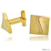 Stainless Steel Square Gold Plated Cufflinks with Flared Corners, 5/8 in (15  - $37.37