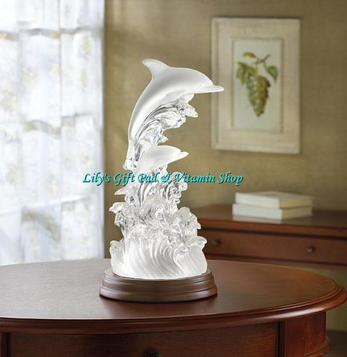 Primary image for DOLPHIN On Waves Of Light Frosted Sculpture Lights Up Rainbow Of Colors (#32270)