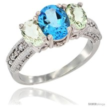 Size 5 - 14k White Gold Ladies Oval Natural Swiss Blue Topaz 3-Stone Rin... - $705.17