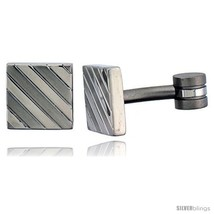 Stainless Steel Square Shape, Cufflinks Striped  - $28.05