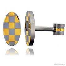 Stainless Steel Oval Shape Cufflinks Gold Plated Checkered  - $29.53