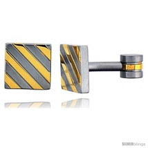 Stainless Steel Square Shape Cufflinks, with Gold Color  - $29.53