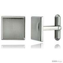 Stainless Steel Plain Square Cufflinks with Beveled Edges Satin Finished 5/8 x  - $28.05