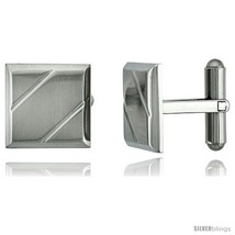Stainless Steel Square Cufflinks with 2 Grooves 5/8 x 5/8  - $28.05