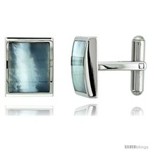 Stainless Steel Rectangular Shape Cufflinks w/ Natural Mother of Pearl Inlay,  - $41.37