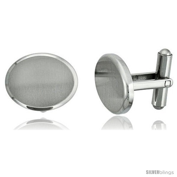 Stainless Steel Plain Oval Cufflinks Satin Finished 3/4 x /8  - $28.05