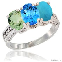 Size 9.5 - 14K White Gold Natural Green Amethyst, Swiss Blue Topaz & Tur... - £573.83 GBP