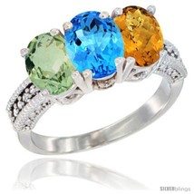 Size 8 - 14K White Gold Natural Green Amethyst, Swiss Blue Topaz & Whisky  - £554.54 GBP
