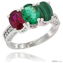 Size 5.5 - 10K White Gold Natural Ruby, Emerald & Malachite Ring 3-Stone... - $583.60