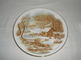 Vintage A Home In the Wilderness Currier & Ives Decorative Plate  - $21.75