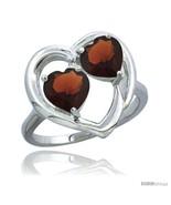Size 6.5 - 14k White Gold 2-Stone Heart Ring 6mm Natural Garnet Stones D... - $465.19