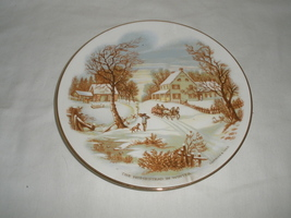 Vintage The Homestead in Winter Currier & Ives Decorative Plate  - $21.75