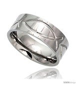 Size 8.5 - Surgical Steel Christian Fish Ring 8mm Ichthys Wedding Band  - $52.80