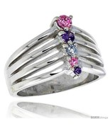2 in 13 mm wide right hand journey ring brilliant cut amethyst pink tourmaline colored thumbtall