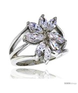 Uality sterling silver 3 4 in 18 mm wide right hand flower ring marquise cut cz stones thumbtall
