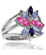 Silver 3 4 in 18 mm wide right hand flower ring marquise cut alexandrite amethyst pink thumbtall