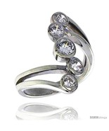 Lity sterling silver 1 in 24 mm wide right hand ring bezel set brilliant cut cz stones thumbtall