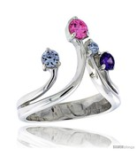 Rling silver 3 4 in 19 mm wide right hand ring brilliant cut alexandrite amethyst pink thumbtall