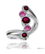 in 24 mm wide right hand ring bezel set brilliant cut ruby pink tourmaline colored cz thumbtall