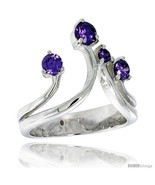 Ling silver 3 4 in 19 mm wide right hand ring brilliant cut amethyst colored cz stones thumbtall