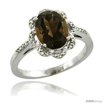 An item in the Jewelry & Watches category: Size 6 - 14k White Gold Diamond Halo Smoky Topaz Ring 1.65 Carat Oval Shape 9X7