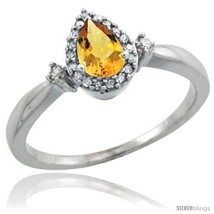 10k white gold diamond citrine ring 0 33 ct tear drop 6x4 stone 3 8 in wide thumb200