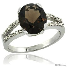 Size 9 - Sterling Silver and Diamond Halo Natural Smoky Topaz Ring 2.4 c... - $168.91