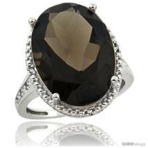 Size 8 - Sterling Silver Diamond Natural Smoky Topaz Ring 13.56 Carat Oval  - $404.48