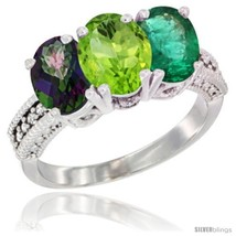 Size 5 - 10K White Gold Natural Mystic Topaz, Peridot & Emerald Ring 3-S... - $596.15