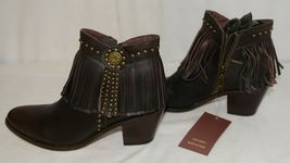 Lucky And Blessed SH 11 Dark Brown Leather Boots Fringe Metal Studs Size 9 image 5
