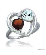 Size 7.5 - 14k White Gold 2-Stone Heart Ring 6mm Natural Garnet & Aquama... - $527.82