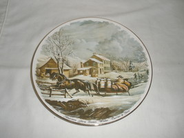 "Vintage American Farmer Scene ""Winter"" Currier & Ives Decorative Plate  - $21.75"