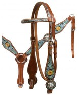 WESTERN HORSE BLING ! BRIDLE HEADSTALL W / 7' SPLIT REINS & BREAST COLLA... - $74.90