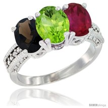 An item in the Jewelry & Watches category: Size 10 - 14K White Gold Natural Smoky Topaz, Peridot & Ruby Ring 3-Stone 7x5
