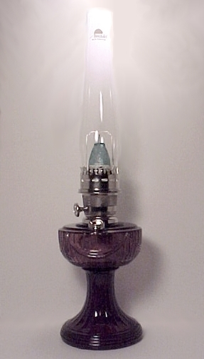 Amethyst Glass Lincoln Drape Aladdin Kerosene Oil Lamp