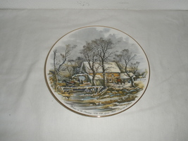 Vintage Winter in the Country The Old Grist Mill Currier & Ives Decorati... - $22.75