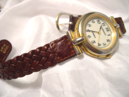 "L16, Carriage, Braided Brown 8"" Leather Band, Gold Tone with White Face - $22.79"