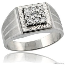Size 14 - Sterling Silver Men's 9-Stone Frosted Stripe Sides Square Ring  - $46.55
