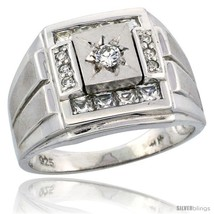 Size 14 - Sterling Silver Men's Frosted Stripe Sides Square Ring Princes... - $65.48